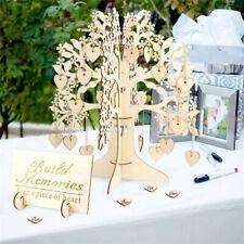 Wedding Guest Book Tree Wooden Hearts Pendant Drop Ornaments Party Decoration