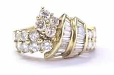 18Kt Round & Baguette NATURAL Diamond Yellow Gold Jewelry Ring 1.74Ct F-VS1