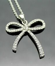 "Sterling Silver Pendant With 16"" Chain Italy Sparkling Faux Diamonds Accent Bow"