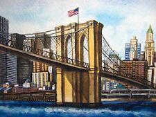 Brooklyn Bridge New York Ocean City Downtown Manhattan Skyscrapers USA Flag 5x7