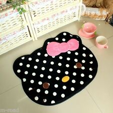 Hello Kitty Cat Bow Cute Big Head Floor Mat Rug Skidproof Carpet Black NEW