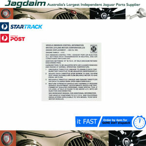 New Jaguar E Type 1973 Emissions Decal ID0010/73