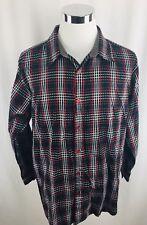 PJ Mark Black Red Long Sleeve Plaid Button Front Shirt Mens Large L