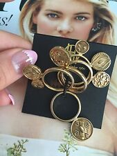 House Of Harlow 1960 ring 5 Ps. 14k Gold Plated 100% Authentic Size -5 NEW$100