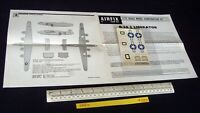 *1960s/70s Vintage Airfix Instructions & Decals (No Kit) USAAF B.24 Liberator