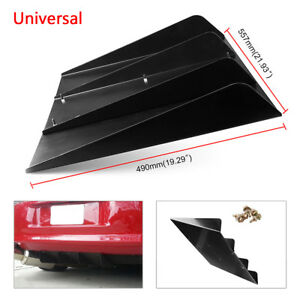 """Universal 21.93""""x19.29"""" Rear Bumper 4 Diffuser Fin with Screws ABS Accossories"""