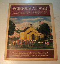 Schools At War Antiguo Raro 2ª Guerra Mundial Original 1945 con Póster de Futuro