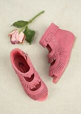 JOYFOLIE KAHLEESE in ROSE 12T Beautiful Fringe Bootie Hot Pink Shoes USA