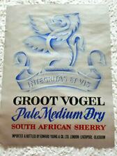 Groot Vogel - Pale Medium Dry South African Sherry - Edward Young - Label 1960's