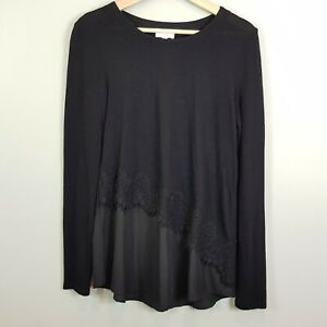 [ WITCHERY ] Womens Black Top w/ Lace detail | Size S or AU 10 / US 6