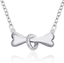 "925 Silver Dog Bone Pendant & Crystal Ring 17 "" Loop Chain Free Jewellery Box"