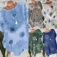 Boho Women's Mandala Shirt Kaftan Top Short Sleeve Blouse Gypsy Beach T-Shirt