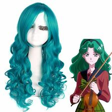 USA Ship Sailor Neptune Sailor Moon Women's Curly Wavy Blue Green Cosplay Wig
