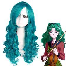 USA Ship Sailor Neptune Sailor Moon Women's Curly Wavy Blue Green Cosplay Wig