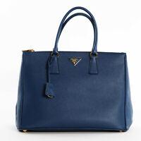 New Prada 1BA786 F0016 Large Saffiano Lux Women's Leather Tote Bag - Bluette
