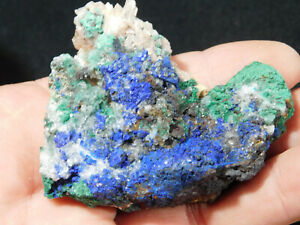 A 100% Natural Deep BLUE Azurite Cluster with Malachite! From Morocco 71.7gr
