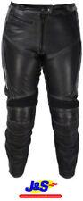 Pantalons noirs en cuir pour motocyclette Femme