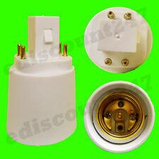 G-24 a E27 4 PINES Adaptador Enchufe LED Convertidor Lámpara Soporte VENDEDOR GB
