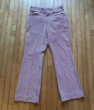 Vintage 70's Houndstooth Polyester Pants 31 x 31 Burgundy White High Waist