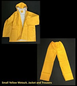 Small Yellow PVC Wetsuits/Coveralls, Drawstring Hood, Press Studded Cuffs