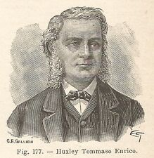B2229 Thomas Henry Huxley - Ritratto - Incisione antica del 1927 - Engraving