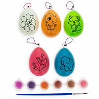 Set of 5 Multicolored Solid Plastic Easter Egg Ornaments 4.75 Inches