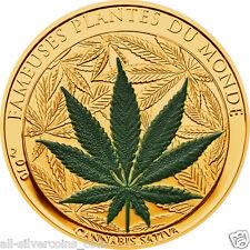 CannabisSativaMarihuanascent100 FrancsCuNiGoldplated CoinBenin2010