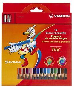 STABILO Swano Trio Maxi 203/2-18 Paquete 18 Lápices de Color Triangular