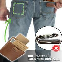 Men's RFID Slim Wallet with Double Pull-out Leather Antimagnetic RFID Wallet