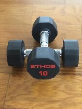BRAND NEW 10LB PAIR OF RUBBER  HEX DUMBBELLS WEIGHTS