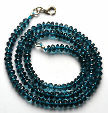 NATURAL LONDON BLUE TOPAZ Micro Faceted RONDELLE BEADS NECK.5--5.5 MM 18 INCH
