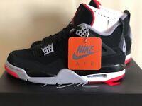Air Jordan 4 Retro OG Bred 2019 308497-060 Black Red Grey Mens Basketball Shoes
