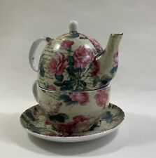 More details for silea tea for one rose floral pink and green teapot cup and saucer set