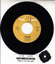 """THE EAGLES Lyin' Eyes & Take It To The Limit 7"""" 45 rpm record + juke box strip"""