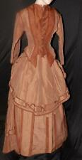 ORIG VICTORIAN 1870 2TONE CHOC BROWN SILK FAILLE 3PC VISITING BUSTLE GOWN DRESS