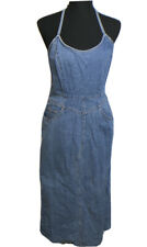 Newport News Jeanology Womens Blue Denim Sleeveless Jumper Dress Size 8