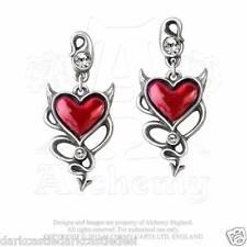 Alchemy Gothic UL17 Devil Heart Stud Drop Earrings Pewter Red Enamel Crystal Emo