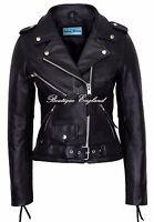 'CLASSIC BRANDO Ladies Black Biker Style Cruiser REAL Hide Leather Jacket MBF