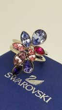 Authentic Swarovski Cocktail Ring Pink & Purple Crystal Droplets sz 52