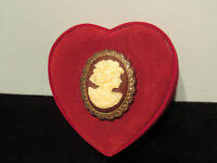 VIntage Cameo Red Velvet Heart Shaped Trinket/Jewelry Box