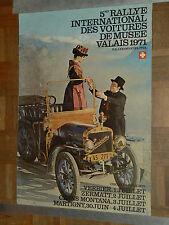Affiche 5ème Rallye Auto du Valais 1971 Suisse Sport poster automobile Furicum
