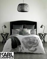 Karl Lagerfeld Pixel Rose Floral Design 100% Cotton Bedding Duvet Covers Grey
