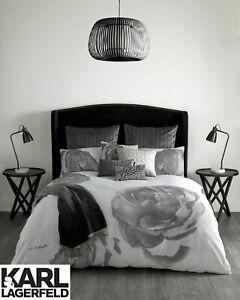 Karl Lagerfeld Pixel Rose Floral Design 100% Cotton Bedding Duvet Covers Grey