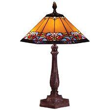 TIFFANY STYLE TABLE LAMP 61CM AZTEC DESIGN GLASS SHADE 31CM FREE LIGHT BULBS