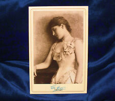 LILLIE LANGTRY Actress Beauty Cabinet Card Photograph Vintage AUTOGRAPH