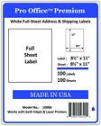 """100 Full Sheet shipping Labels Pro Office Premium 8.5"""" X 11"""" Self Adhesive Blank"""