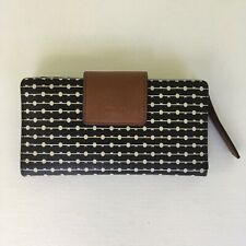 Fossil Emma RFID Striped Tab Clutch Wallet Key Print Black/White