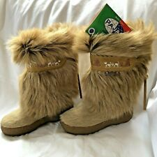 Pajar Winter Boots 35 (3.5) Tan Goat Fur Hair Sherpa Lined Italy Excellent