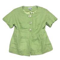 Lucy & Laurel NWT Linen Short Sleeve Shirt Jacket M Medium Lime Green Lined NEW