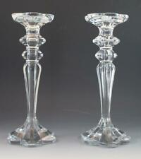 Vintage Pair Heavy Clear Baccarat Style Crystal Glass Candlestick Holders